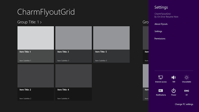 Grid page with the settings flyout opened.