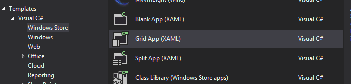 Creating a new Windows Store Grid App in MS Visual Studio 2012