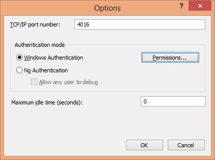 Remote Debugging Monitor Options