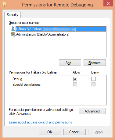Remote Debugging Monitor Permissions Dialog