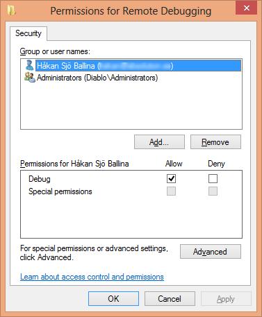 Remote Debugging Monitor Permissions Dialog