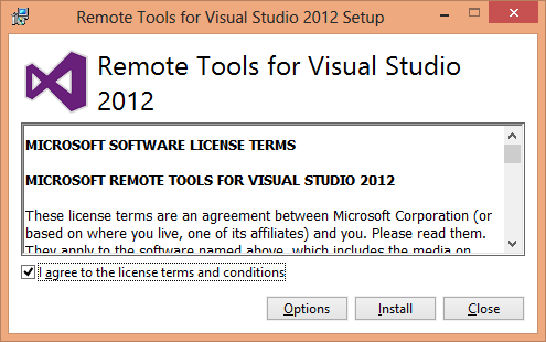 Remote Tools for Visual Studio 2012 installation