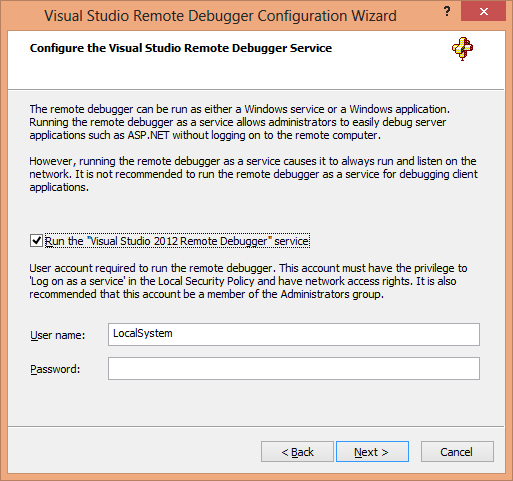 Visual Studio Remote Debugger Configuration Wizard Page 2
