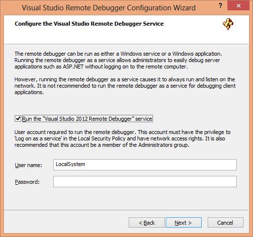 Visual Studio Remote Debugger Configuration Wizard Page 2