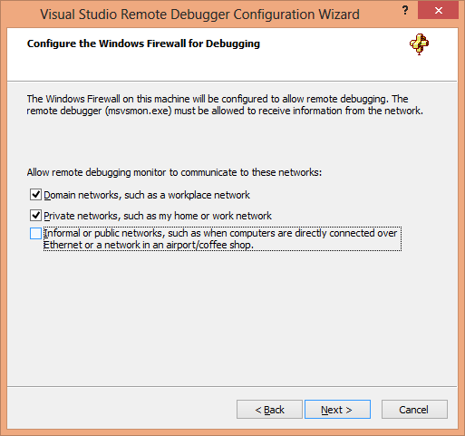 Visual Studio Remote Debugger Configuration Wizard Page 3