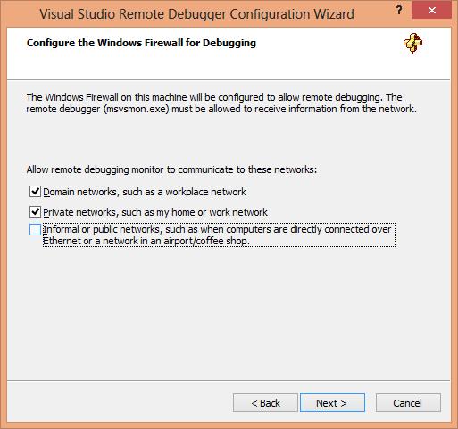 Visual Studio Remote Debugger Configuration Wizard Page 3