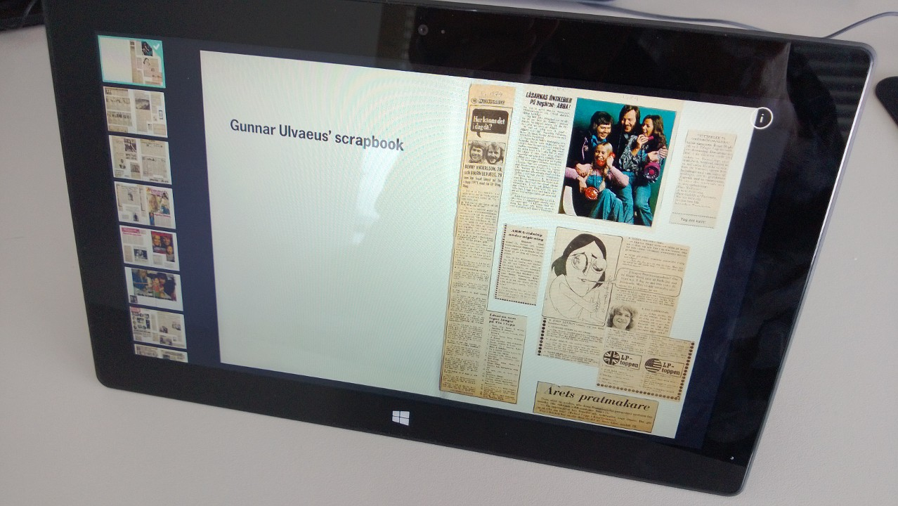 Gunnar Ulvaeus' Scrapbook running on Surface RT.